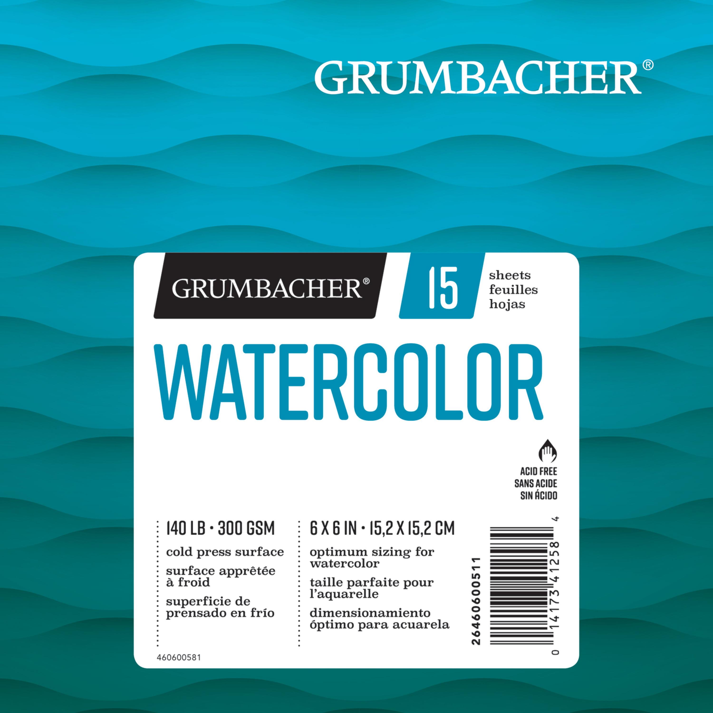 """Grumbacher Watercolor Pad, 6"""" x 6"""", 15 Sheets/Pad"""