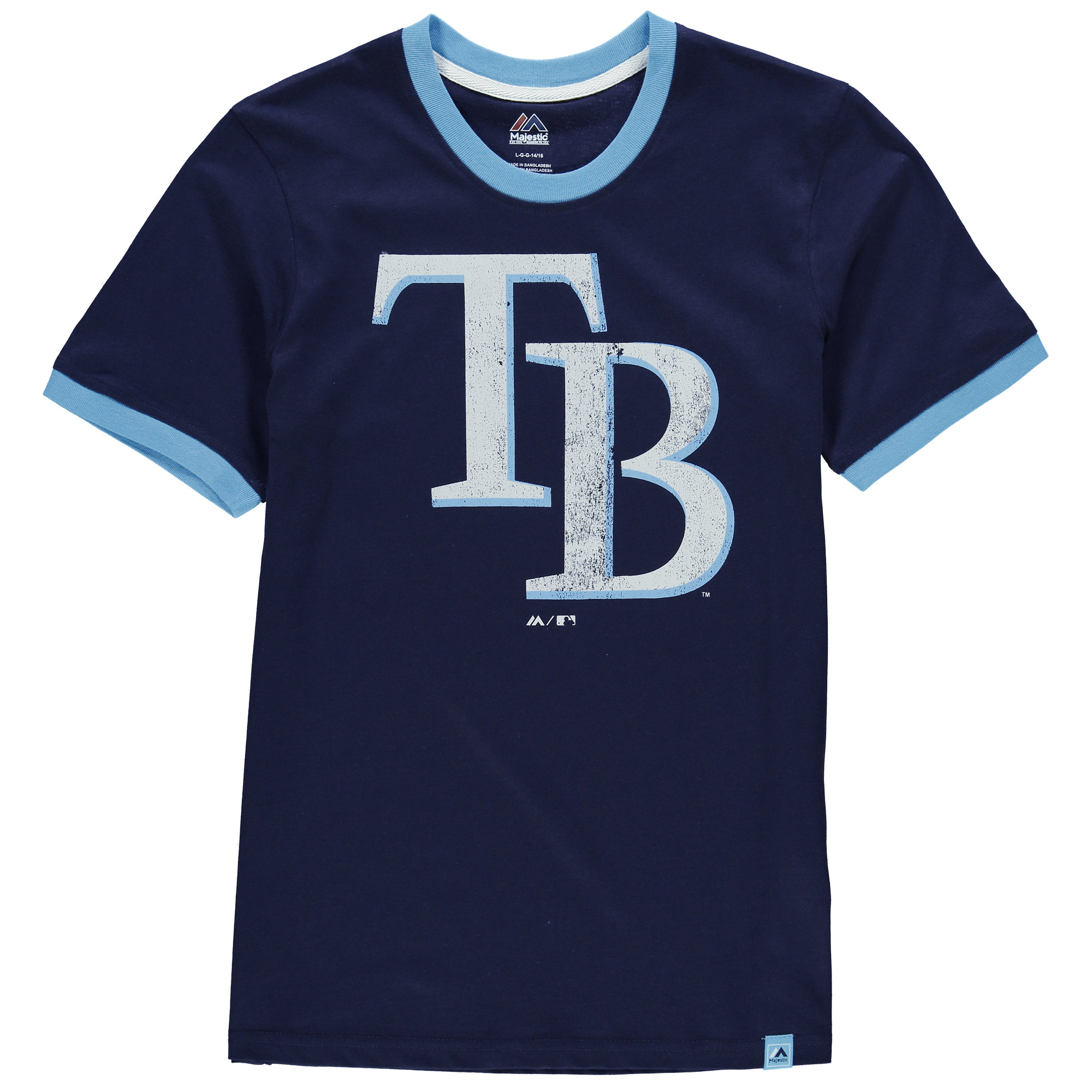 Tampa Bay Rays Majestic Youth Baseball Stripes Ring T-Shirt - Navy