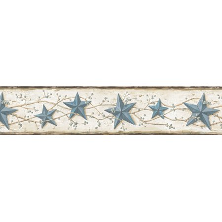 Brewster CTR65366B June Blue Heritage Tin Star Border Wallpaper ()