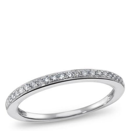 1/10 Carat (ctw) 14K Gold Round White Diamond Ladies Petite Anniversary Wedding Band Stackable