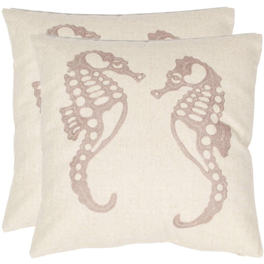 "Safavieh Dahli Seahorse 18"" x 18"" Ivory Pillow, Set of 2"
