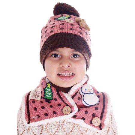 Rose Beanie Hat - Baby Toddler Kids Winter Warm Soft Christmas Beanie Hat Cap Scarf Set