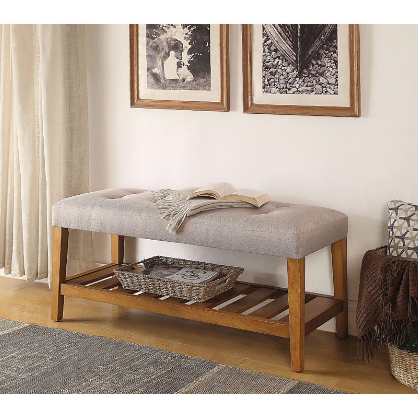 Wooden Bench, Light Gray & Oak