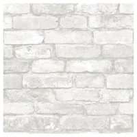 Brewster Brick White Peel And Stick Wallpaper
