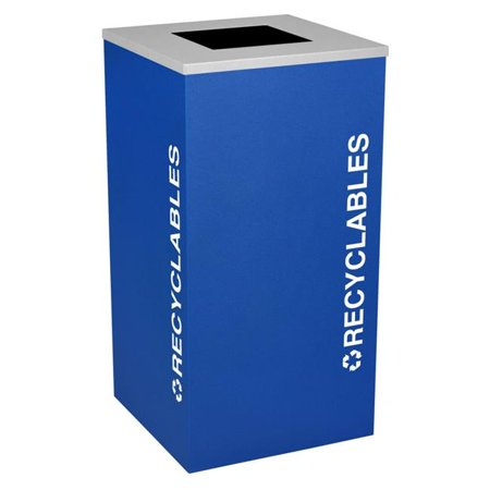 Ex-Cell Kaiser RC-KDSQ-R RYX 24 Gallon Square Recycling Receptacle with Recyclables Decal, Royal Texture ()
