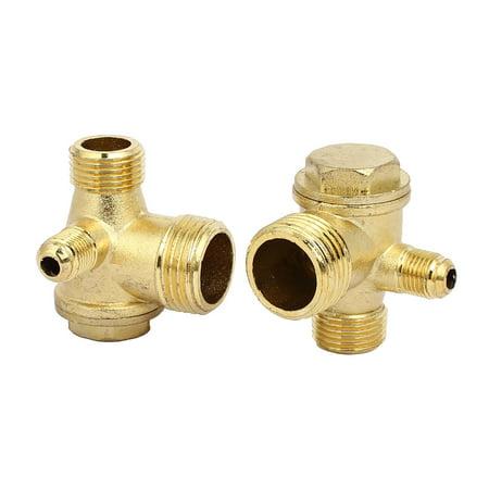 G1/2xG3/8xG1/8 Male Thread 3 Port Vertical Air Compressor Pump Check Valves 2pcs - image 2 of 2