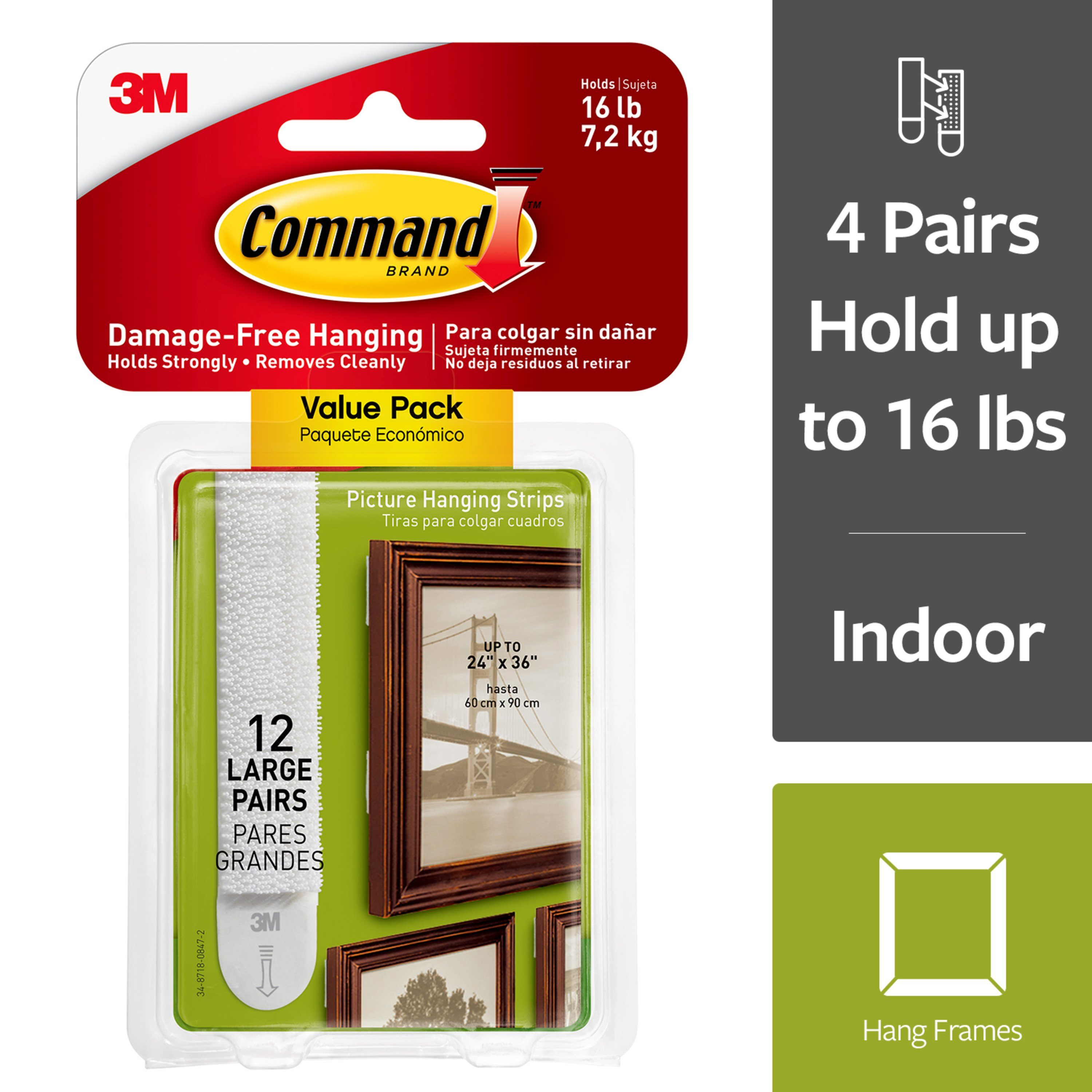 3M Command Picture Hanging Strips, 4 pairs hold 16 lbs, Create Gallery Walls, 12 Pairs (24 Strips, Value Pack)