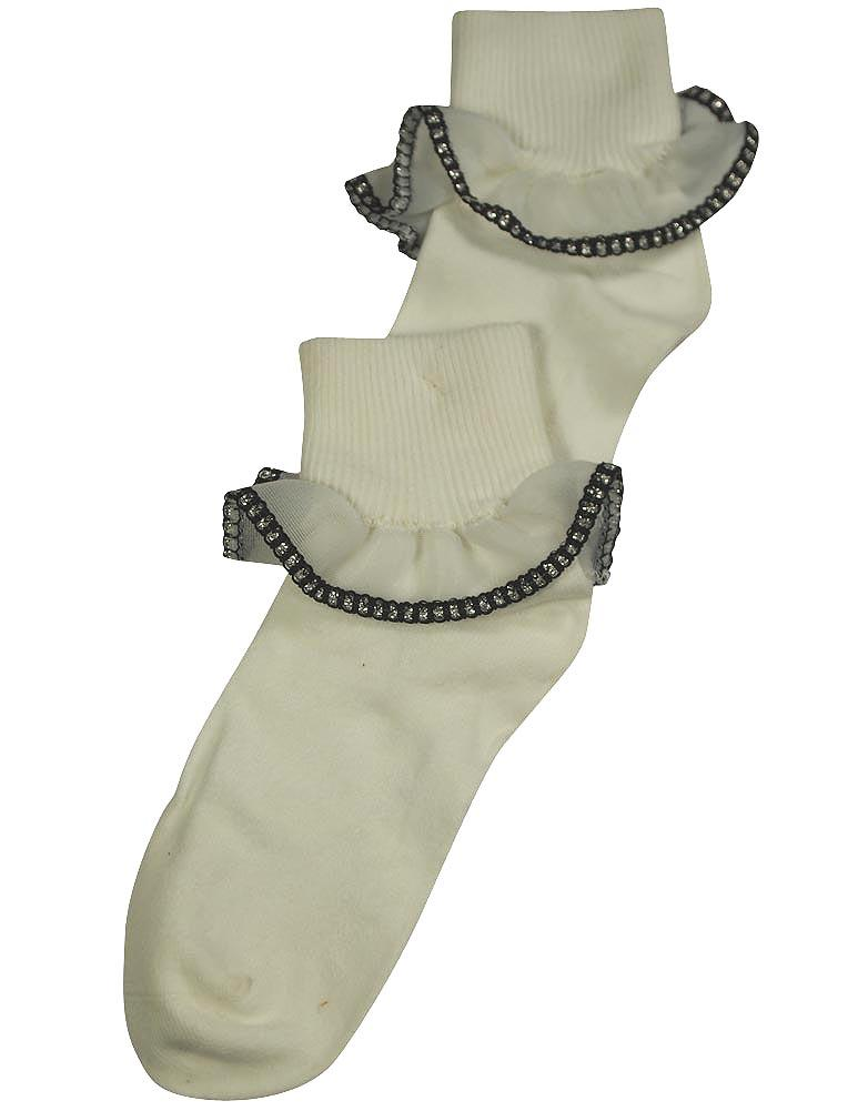 Tic Tac Toe Girls Rollover Lace Sock WHITE / Default Title