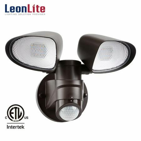 (LEONLITE Dual-head LED Outdoor Security Light, 1400lm Motion Activated Flood Light, 16W Weatherproof Area Lighting for Yard, Porch, Garden, Garage, 3000K Warm White, Bronze)