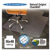 1PK-ES Robbins Natural Origins Chair Mat With Lip For Hard Floors, 36 x 48, Clear (143002)