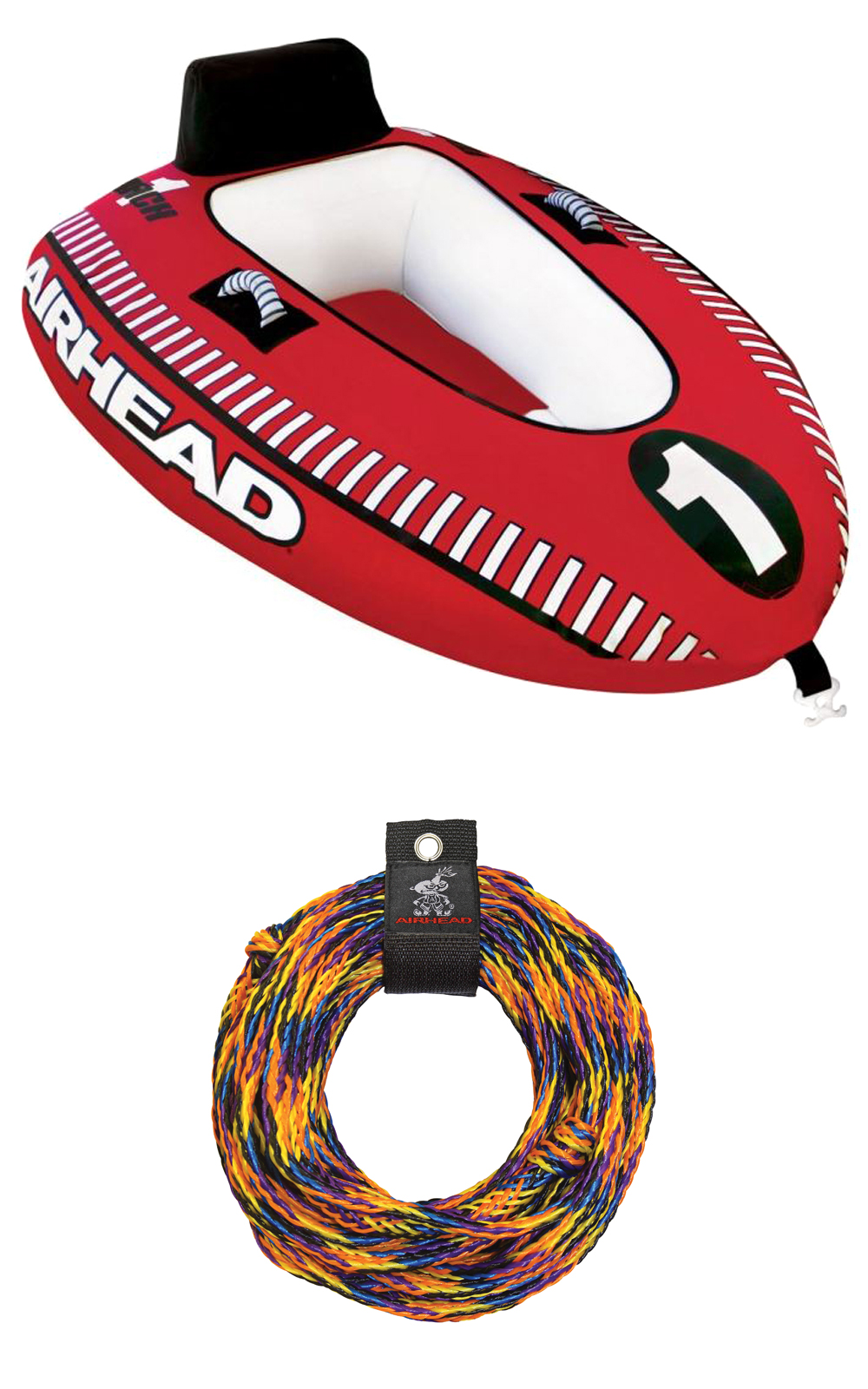 Airhead Mach 1 Single Rider Inflatable Boat Towable Tube w  Tow Rope | AHM1-1 by Kwik Tek