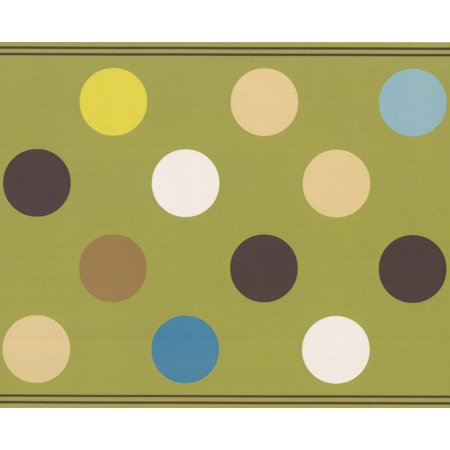 """Brown Beige Charcoal Grey Blue White Polka Dots Olive Green Abstract Wallpaper Border Modern Design, Roll 15' x 9"""" - image 3 de 3"""