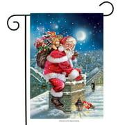"Santa Christmas Garden Flag Rooftop Chimney Toy Sack Santa Claus 12.5"" x 18"""