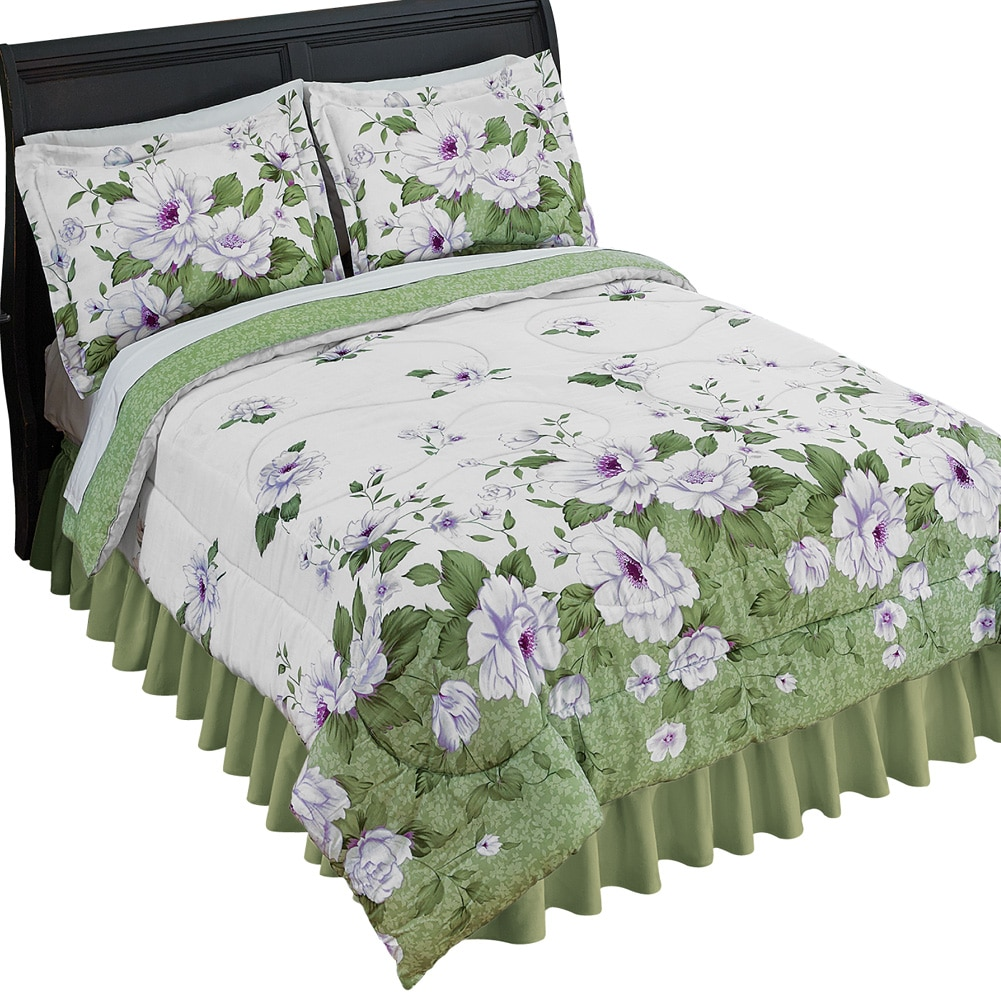 Silvia Floral Garden Medium-Weight Comforter Bed Set With Sham(s), King, Multi
