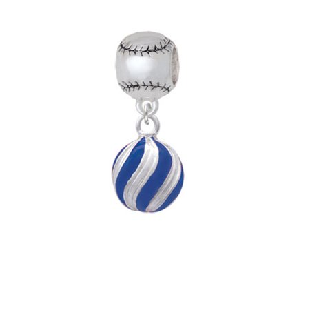 3-D Blue and Striped Ornament - Softball Charm Bead - Softball Beads