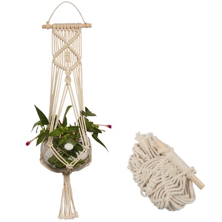 Macrame Plant Hanger Indoor Outdoor Hanging Planter Basket Jute Cotton Rope Braided Craft, 4 Legs 37 Inch (Macrame Plant Hanger Instructions)