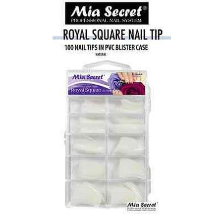 LWS LA Wholesale Store  Mia Secret - Nail Tip Royal Square 100PC/500PC - Clear/White/Natural (100 Pcs Natural) ()