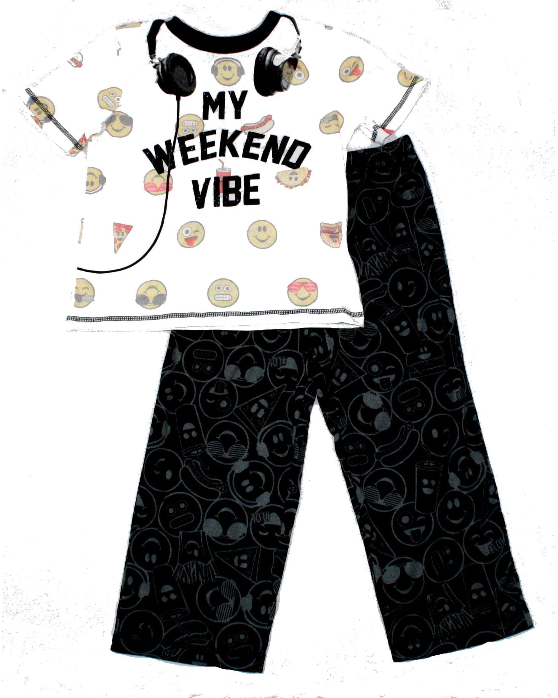 Emojination Big Boys' 2 Piece Pajama Set, White, Size: X-Small / 4-5