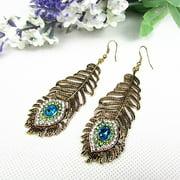 Girl12Queen Vintage Women Rhinestone Peacock Eye Feather Dangle Hook Earrings Jewelry