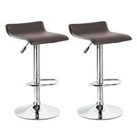 Belleze Set of 2 Leather Modern Swivel Barstools Adjustable Hydraulic Lift Chair Bar Stool, Dark Brown