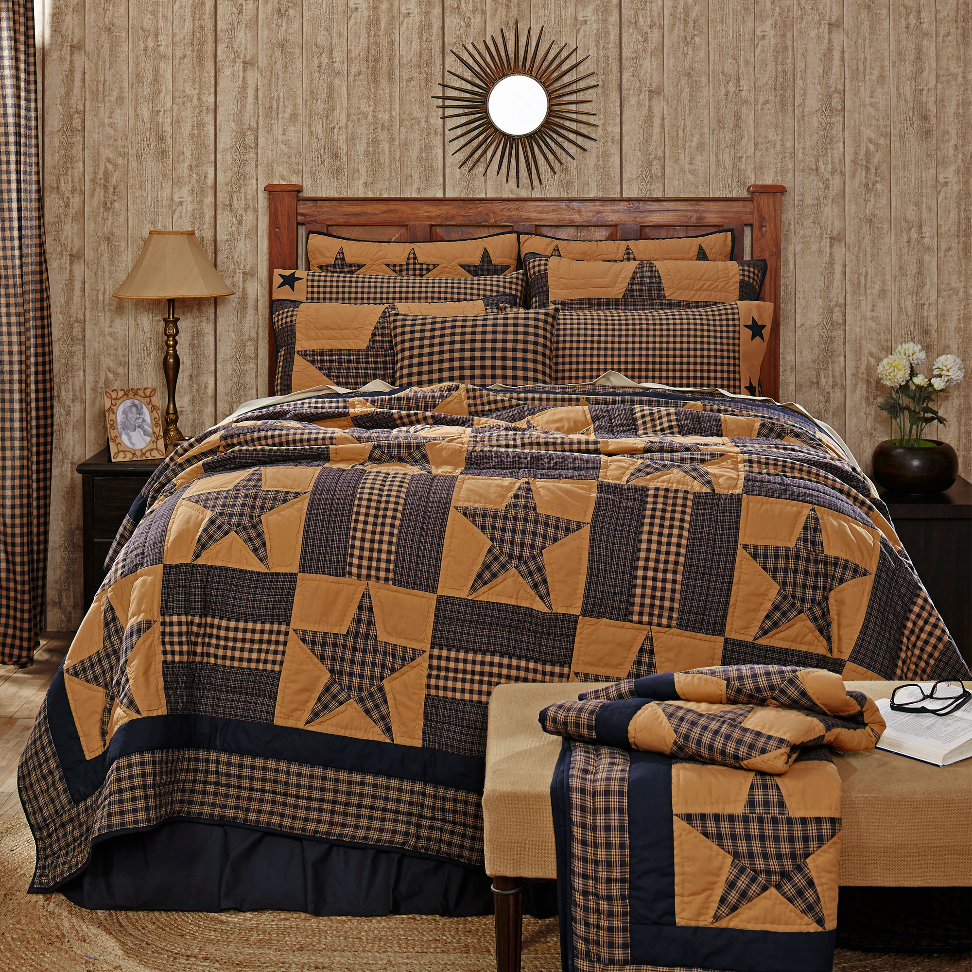 Victorian Heart Teton Star 3 Piece Tan Olive Country Quil...