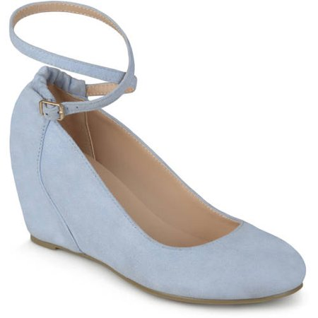Womens Ankle Strap Faux Suede Covered Wedges