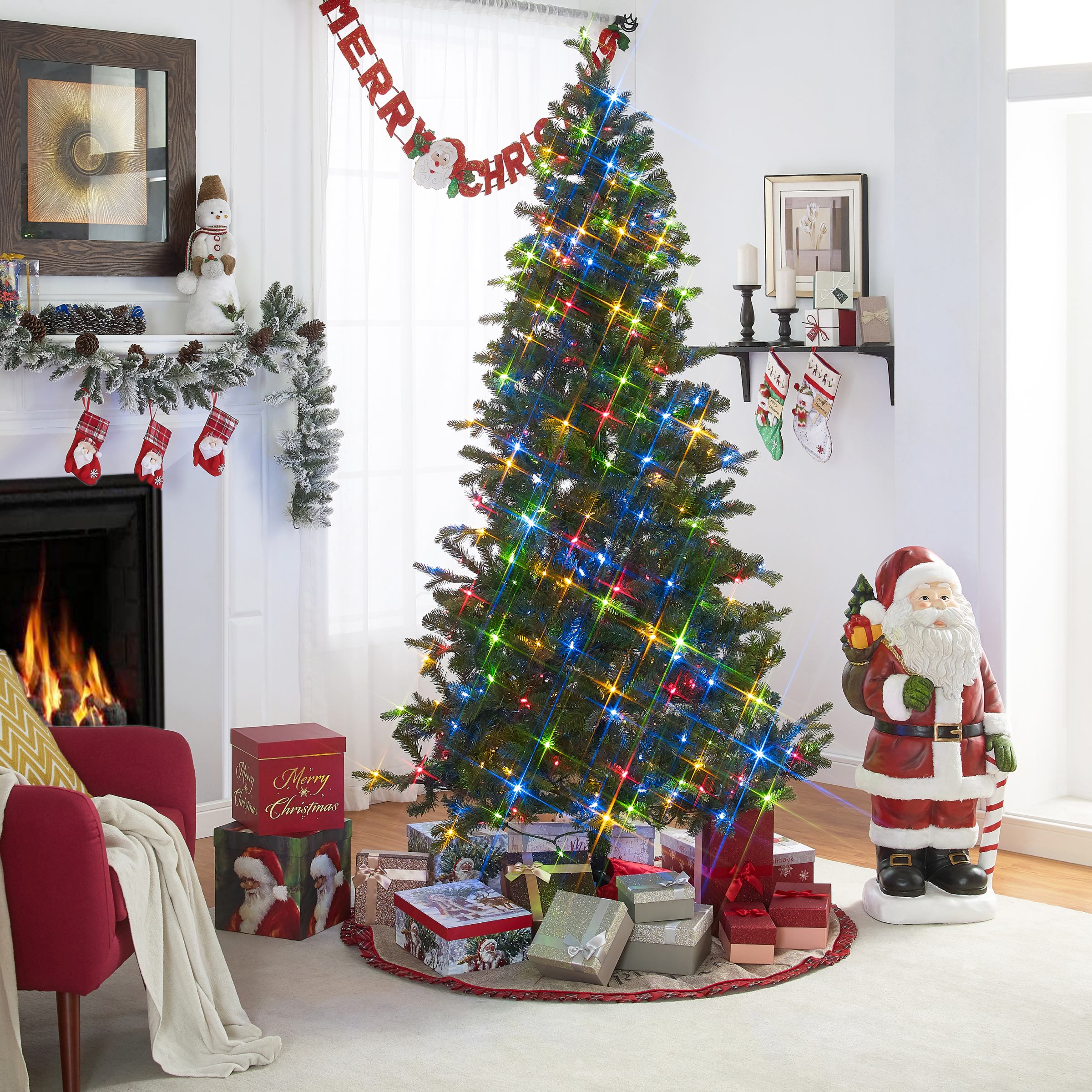 Holiday Time 7.5-Foot Light Command Tree, 420 Voice-Activated LED Lights