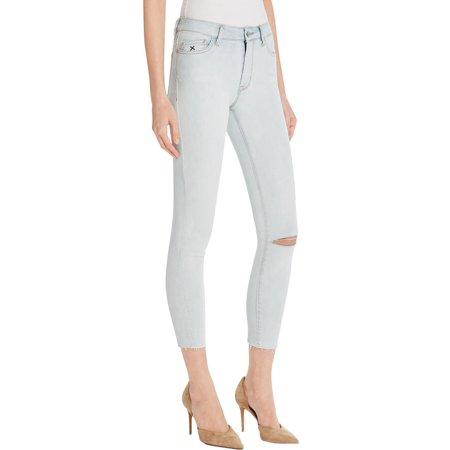 Res Denim Womens Kitty Raw Hem Skinny Cropped Jeans