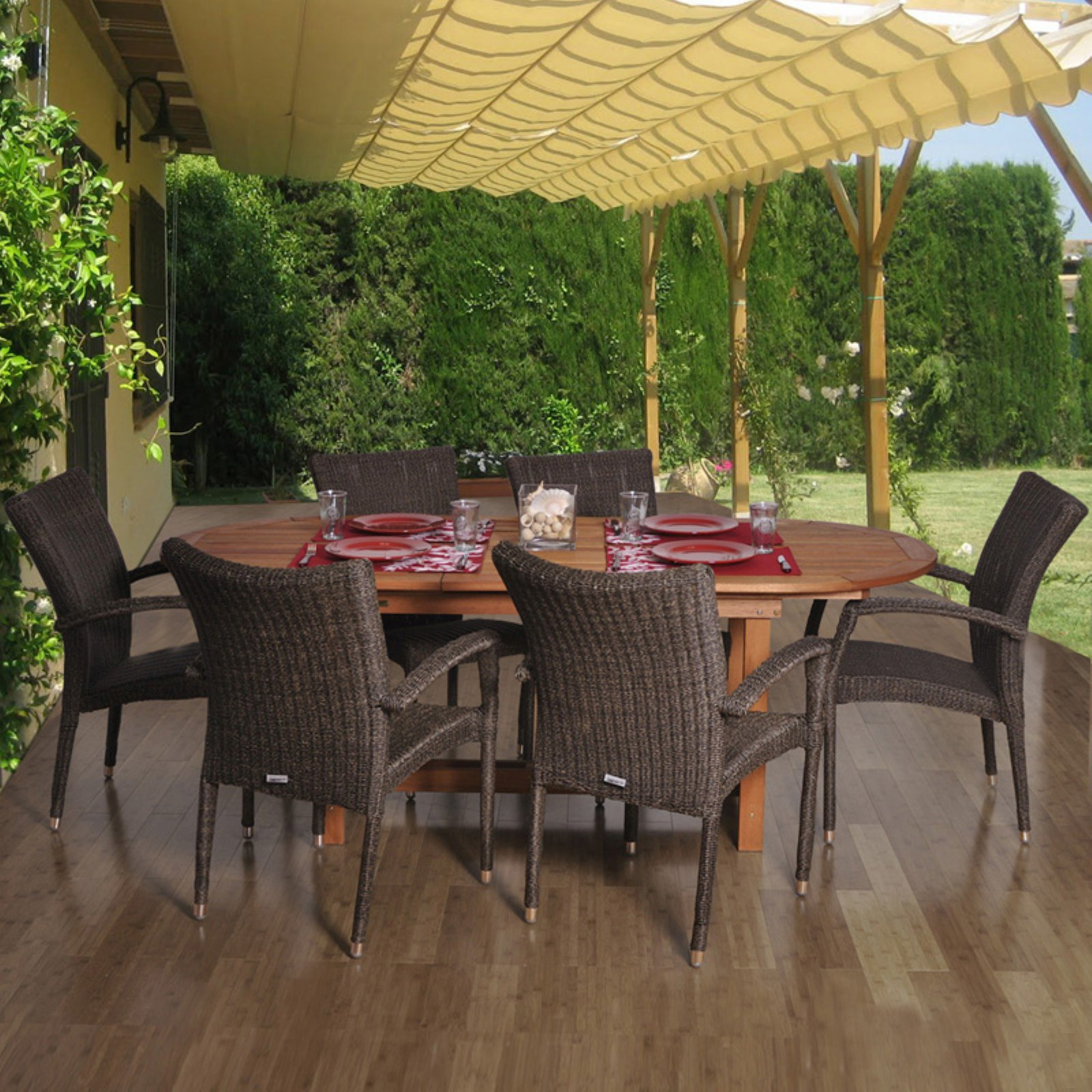 Amazonia Lemans Deluxe Oval Eucalyptus And Wicker Dining Set - Seats 6