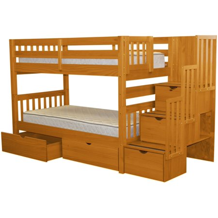 Bedz King Stairway Bunk Beds Twin over Twin with 3 Drawers in the Steps and 2 Under Bed Drawers, Honey Bunk Bed Honey