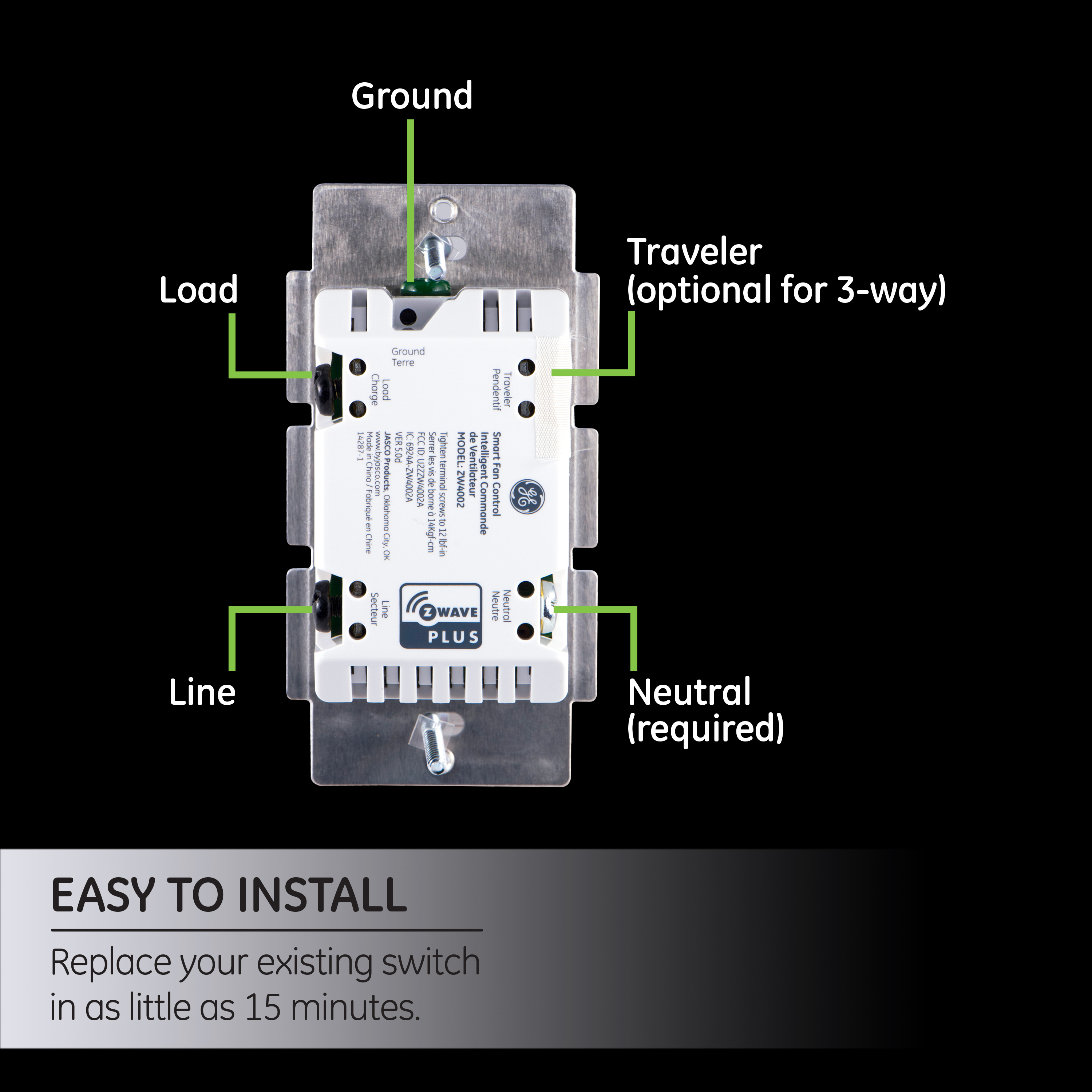 Ge Z Wave In Wall Smart Fan Speed Control Hub Required 12730 Install 3 Way Switch