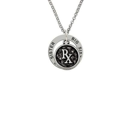 Medical Caduceus Seal   Rx Big Sister Affirmation Ring Necklace