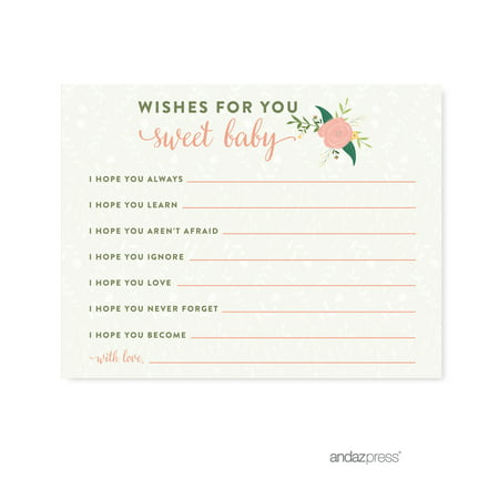 Wishes For Baby  Floral Roses Girl Baby Shower Game, 20-Pack (Baby Shower Decor For Girls)
