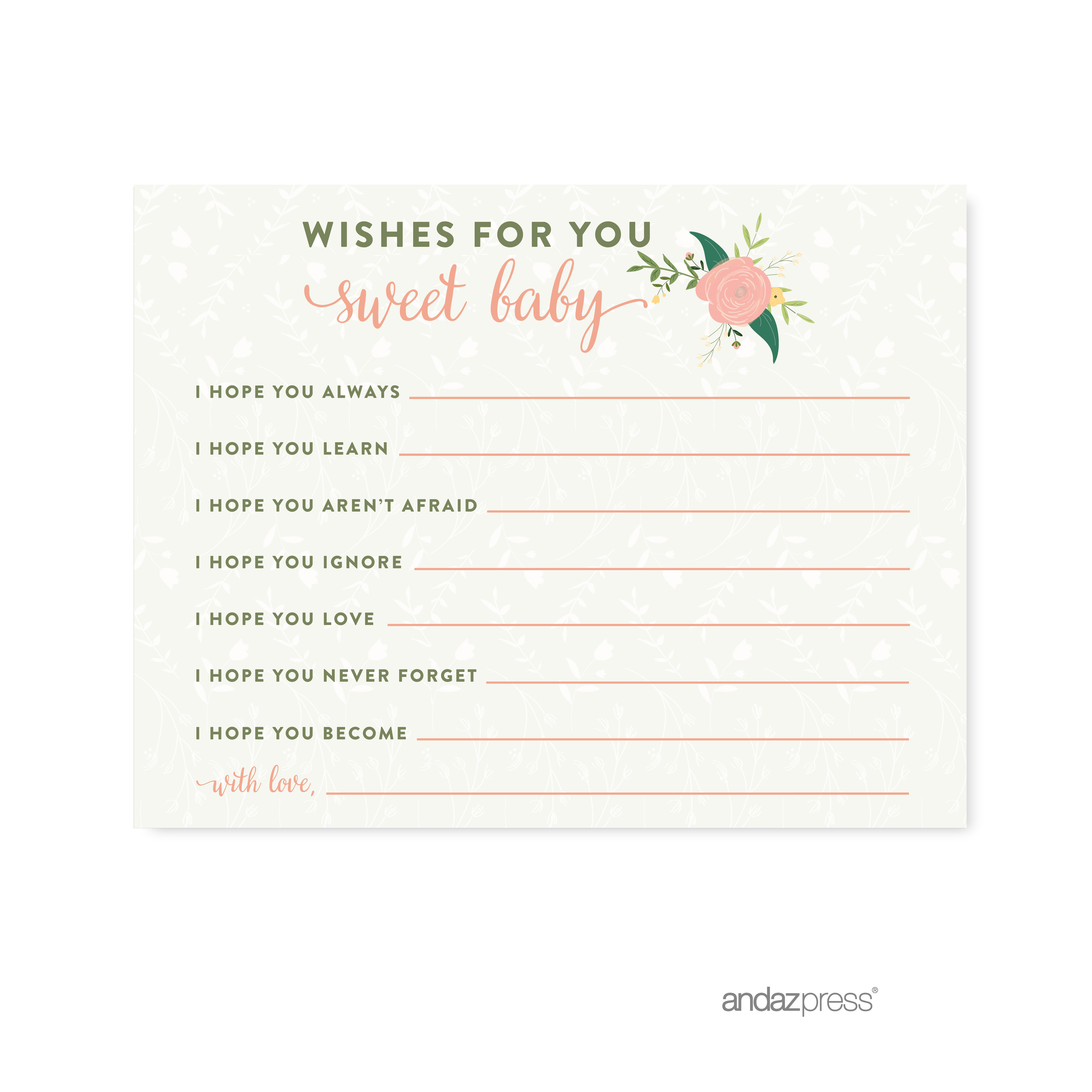Wishes For Baby  Floral Roses Girl Baby Shower Game, 20-Pack