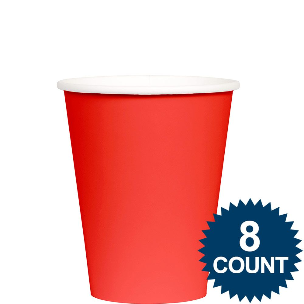 Red 9 oz. Paper Cup, 8ct. - Party Supplies