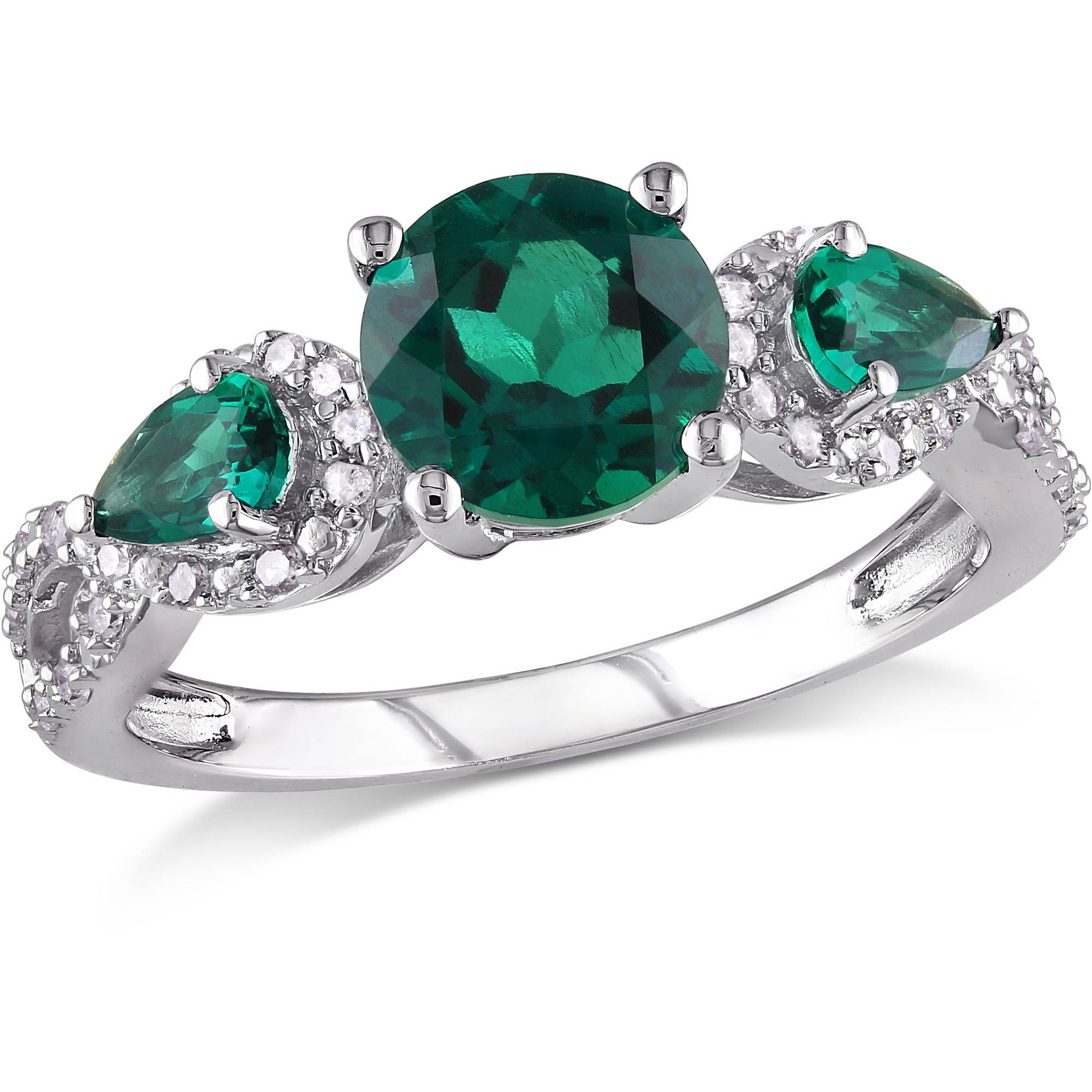 2 Carat T.G.W. Created Emerald and 1/6 Carat T.W. Diamond Sterling Silver Three-Stone Engagement Ring