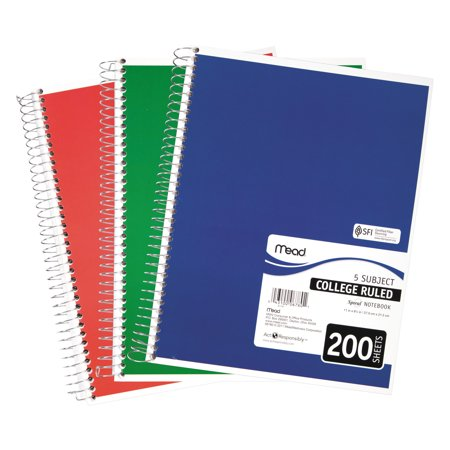 Mead Spiral Bound Notebook, Perforated, College Rule, 11 x 8, White, 200 Sheets $4.77 at walmart online deal