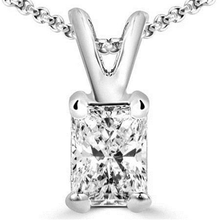 - Harry Chad Enterprises HC10169 2 CT 14K White Gold Big Radiant Cut Diamond Pendant Necklace