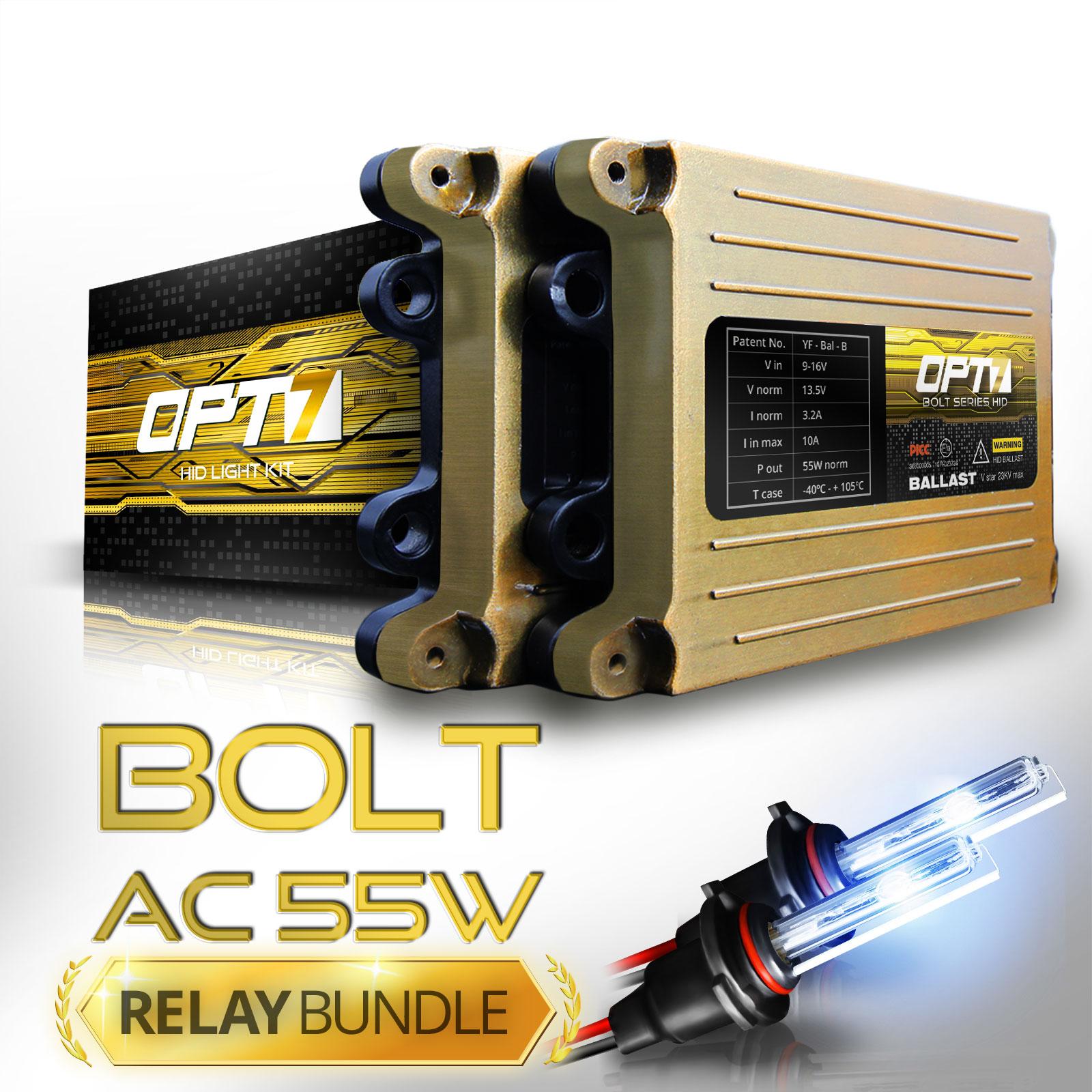 Bolt AC 55w HID Xenon Conversion Kit w/ Relay & Capacitors Bundle H11 [6000K Lightning Blue] 2 Yr Warranty