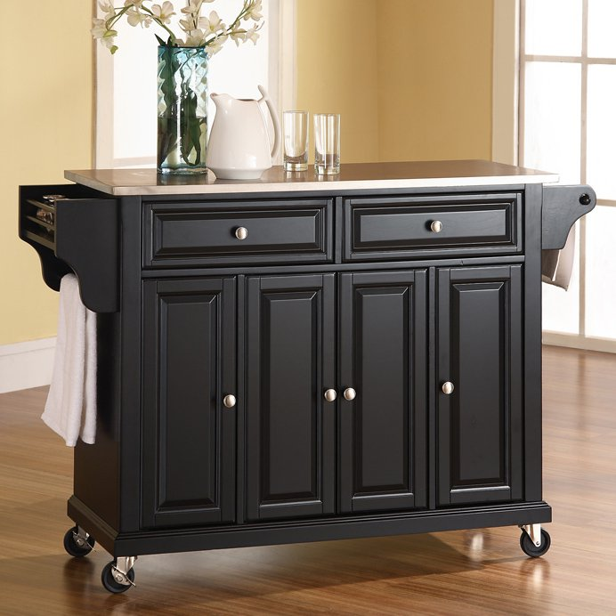 crosley furniture stainless steel top kitchen cart - walmart