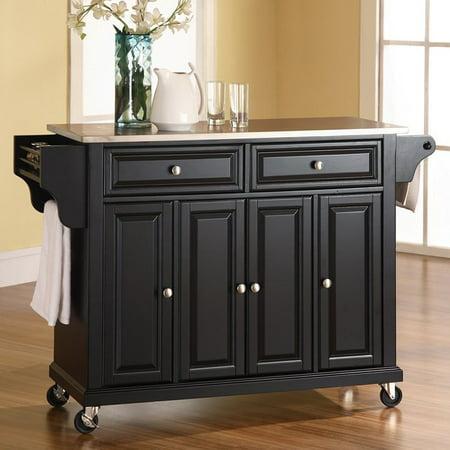crosley furniture stainless steel top kitchen cart. Black Bedroom Furniture Sets. Home Design Ideas