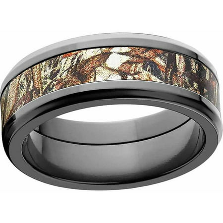 Duckblind Men's Camo Black Zirconium Ring with Polished Edges and Deluxe Comfort (Black Zirconia Ring)
