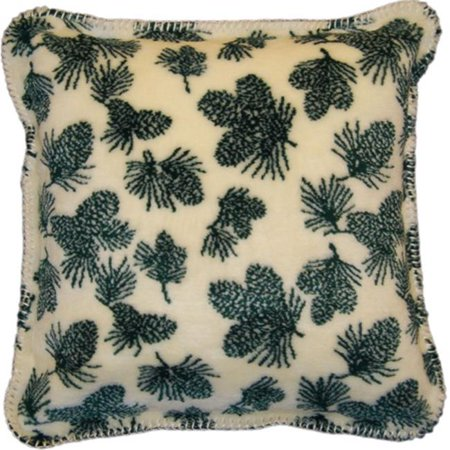 Denali Home Collection 35013918 Winter Pine Cones Square Microplush Pillow