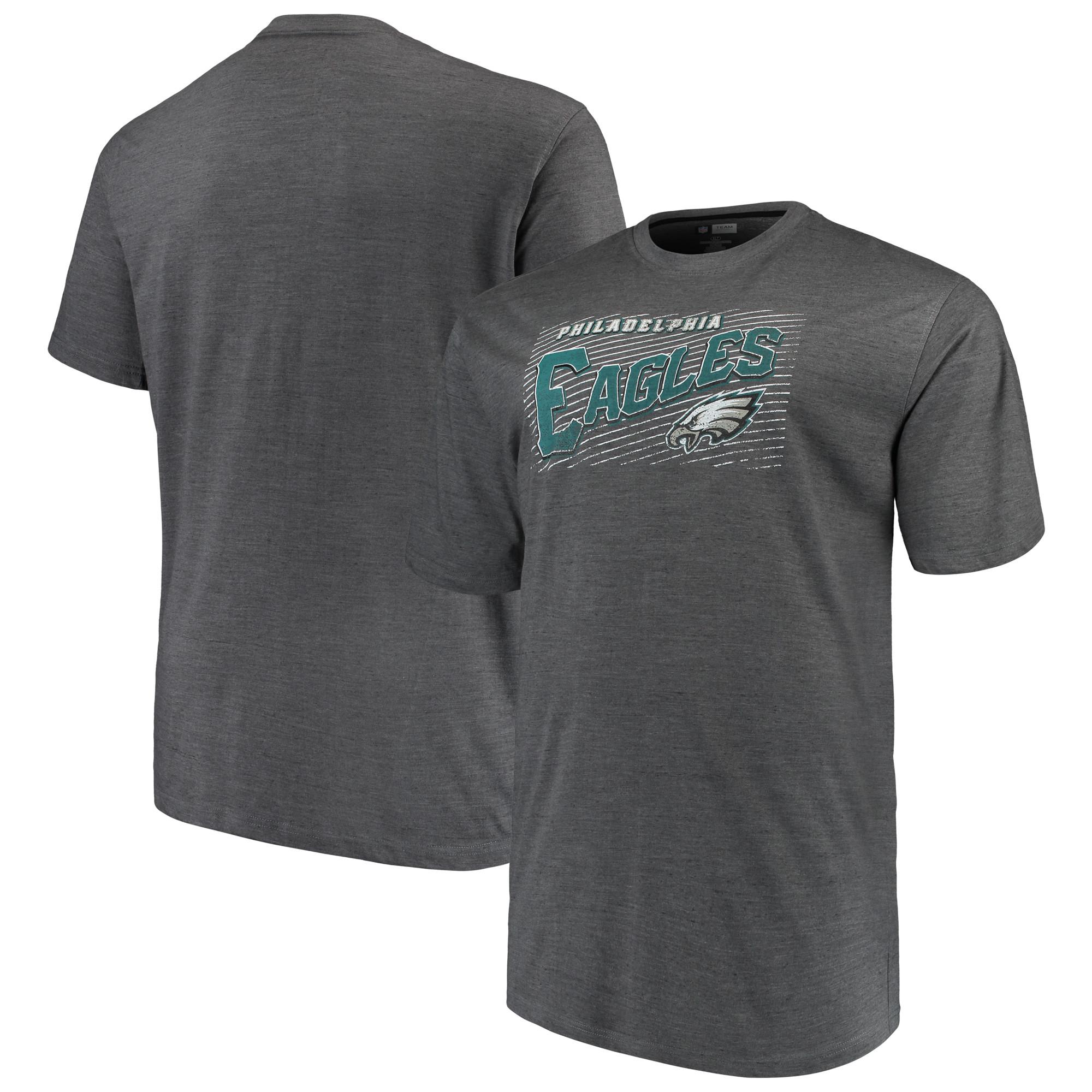 Men's Majestic Charcoal Philadelphia Eagles Big & Tall Royal Domination Malt T-Shirt