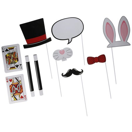 10-Piece Photo Booth Prop Kit, Magic Party, 10-Count assorted photo booth props; die-cut from card stock, attached to sturdy 10-inch sticks By Creative Converting