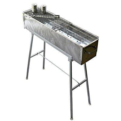 "Party Griller 32"" Stainless Steel Charcoal Grill – Portable BBQ Grill, Yakitori Grill, Kebab Grill, Satay Grill. Makes Juicy Shish Kebab, Shashlik, Spiedini on the Skewer (Bbq Party)"