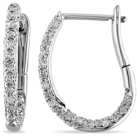 1/2 Carat T.W. Diamond 10kt White Gold Hoop Earrings