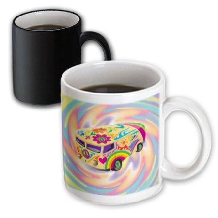 3dRose Funky Retro Hippie Sixties Seventies Bus WIth Swirly Psychedlic Background, Magic Transforming Mug, 11oz - Sixties Hippie Fashion