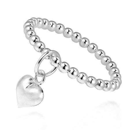 Adorable Heart Dangle Eternal Love Beaded Sterling Silver - Double Ring Dangle