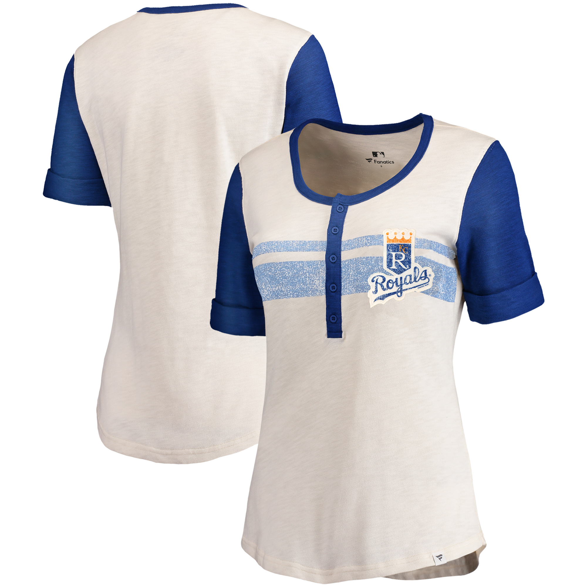 Kansas City Royals Fanatics Branded Women's True Classics Henley T-Shirt - Cream/Royal